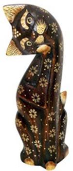 Фигурка Кошка с лапкой у мордочки 35см