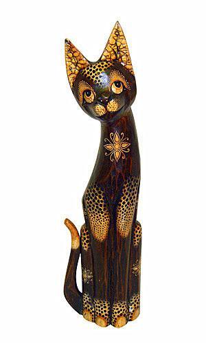 Статуэтка леопардовый Кот хвост трубой в цветах 60см