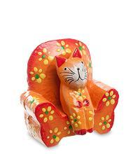 Статуэтка КОШКА на диване, цвет-оранжевый