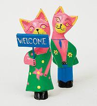Статуэтки mini КОТ и КОШКА Welcome, цвет-розовый, набор 2 шт.