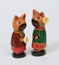 Статуэтка mini КОТ и КОШКА с цветком, набор 2 шт