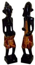 Набор из двух деревянных статуэток 'Музыканты аборигены Массаи' 25см