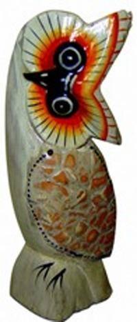 Деревянная статуэтка Сова голова набок 18см.