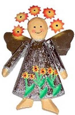 Деревянная фигурка магнит Ангел 10см.