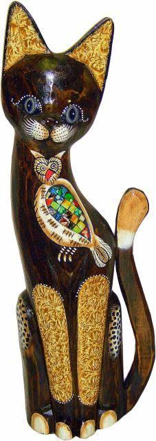 Фигурка 'Котик с совой из мозаики' 40см.