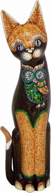 Фигурка из дерева с мозаикой 'Кот с совой' 40см.