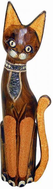 Деревянная фигурка 'Кот Дёма в галстуке' 40см.