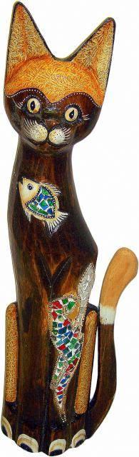 Статуэтка 'Кот с рыбкой на грудке' 100см.