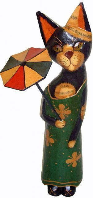 Статуэтка 'Кошка с зонтиком' 60см.