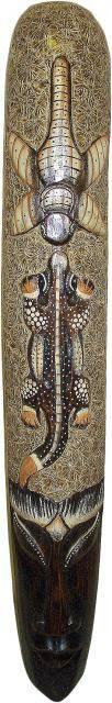 Маска 100см. , сложная художественная авторская резьба, сюжет: стрекоза и геккон