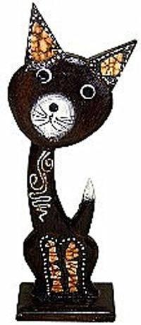 Деревянная фигурка, кот Брауни 35см.