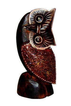 Деревянная статуэтка 'Сова голова набок' 20см.