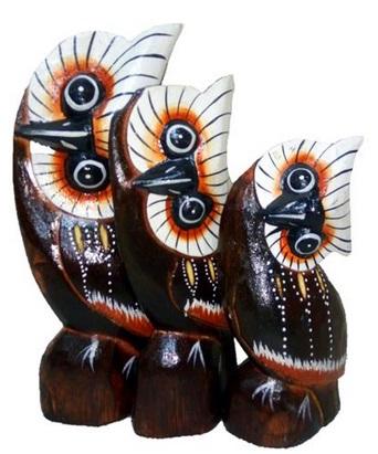 Деревянные фигурки 'Совы голова на бок' 15см.