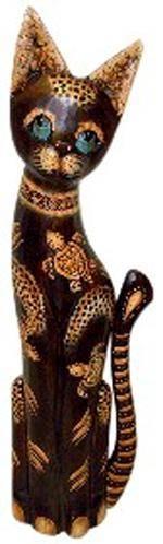 Статуэтка из дерева 'Кот с черепахами' 60см.