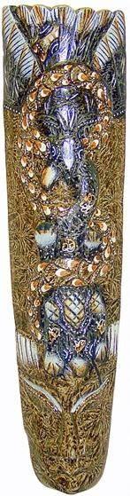 """Маска """"Бурунг"""" 50см. , сложная художественная авторская резьба, сюжет:сюжет: две ящерицы и змея"""