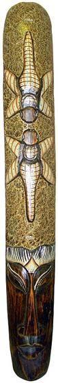 """Маска """"Бурунг"""" 100см. , сложная художественная авторская резьба, сюжет: две стрекозы"""