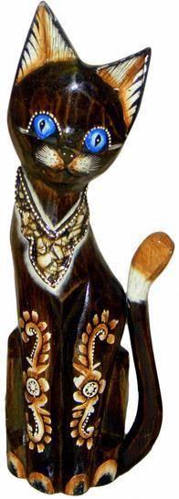"""Деревянная статуэтка """"Кот в ошейнике"""" 30см."""