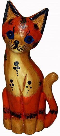 """Деревянная фигурка """"Кот рыжий"""" 20см."""