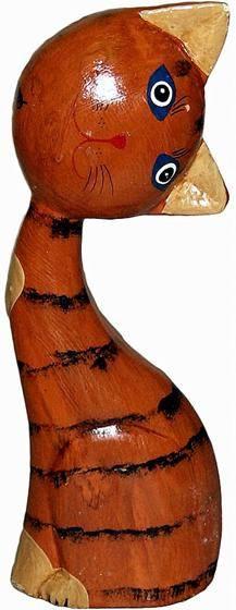 """Деревянная фигурка """"Кот рыжий голова на бок"""" 20см."""