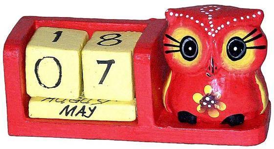 """Календарь настольный с фигуркой птицы """"Сова"""" 13x5см."""