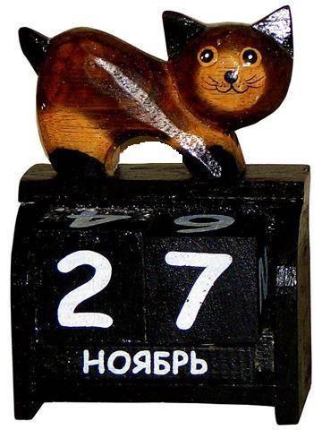 """Календарь настольный с фигуркой животного """"Кот"""" 7х13см."""
