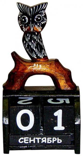"""Календарь настольный с фигуркой """"Сова на ветке"""" 10х20см."""