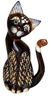 Деревянная фигурка 'Кот пушистый хвост трубой' 20см.