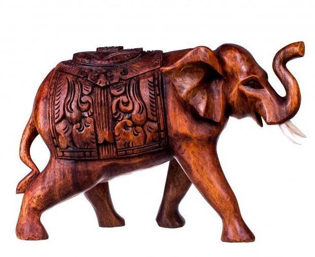 Резная фигура Слон с попоной 20 см.