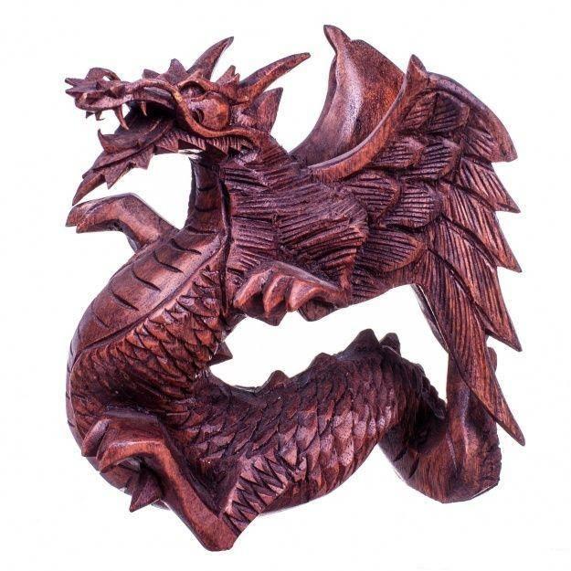 Фигура из дерева Дракон высота 20 см.