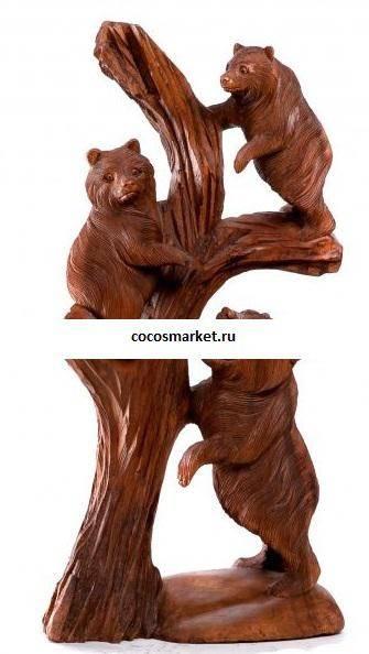 Медвежата на стволе высота 60 см.