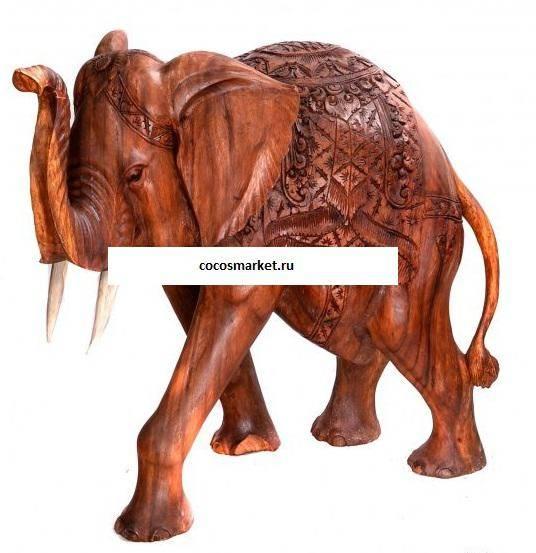 Фигура из дерева Слон с попоной 60 см.