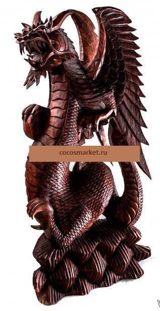 Фигура Дракон с шаром высота 100 см.