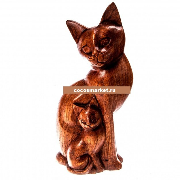 Фигурка деревянная Кошка мама и котенок 30 см
