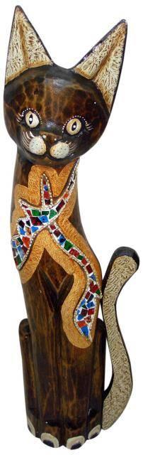 "Фигурка из дерева с мозаикой ""Кот Изгиб"" 80см."