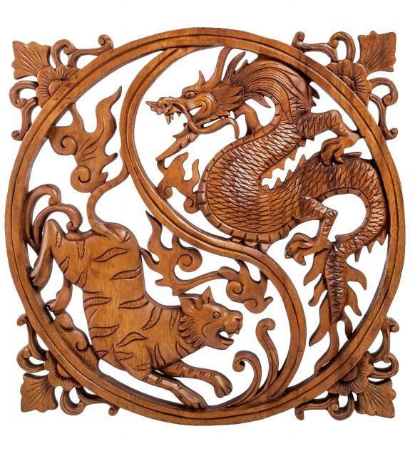 """Панно резное """"Дракон и тигр - символы Инь и Ян"""" 35 см"""