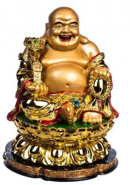 Статуэтка Хотей золотой с четками 25 см.