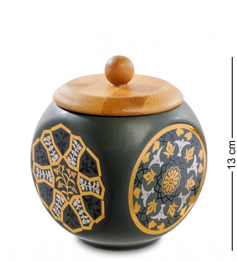Керамическая банка с крышкой из бамбука 13 см