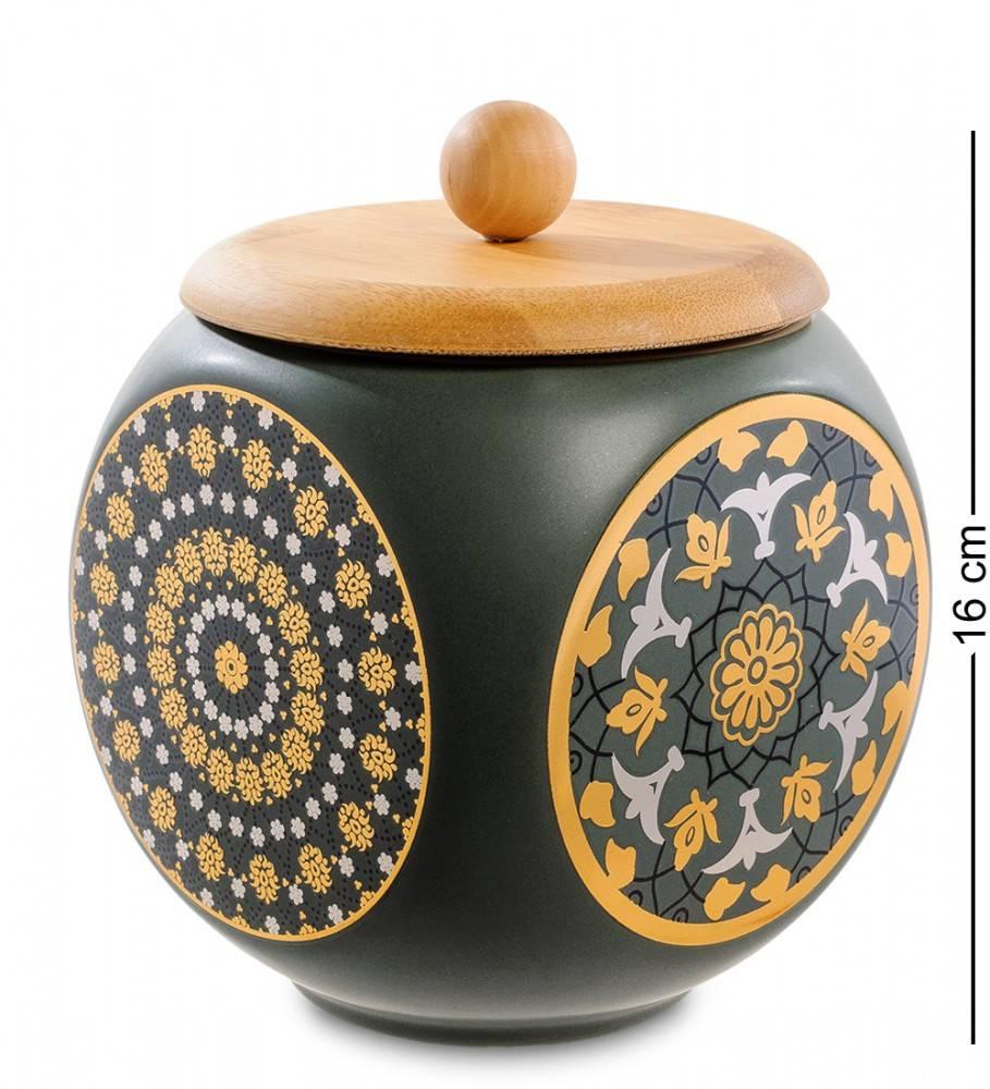 Керамическая емкость с крышкой из бамбука 16 см