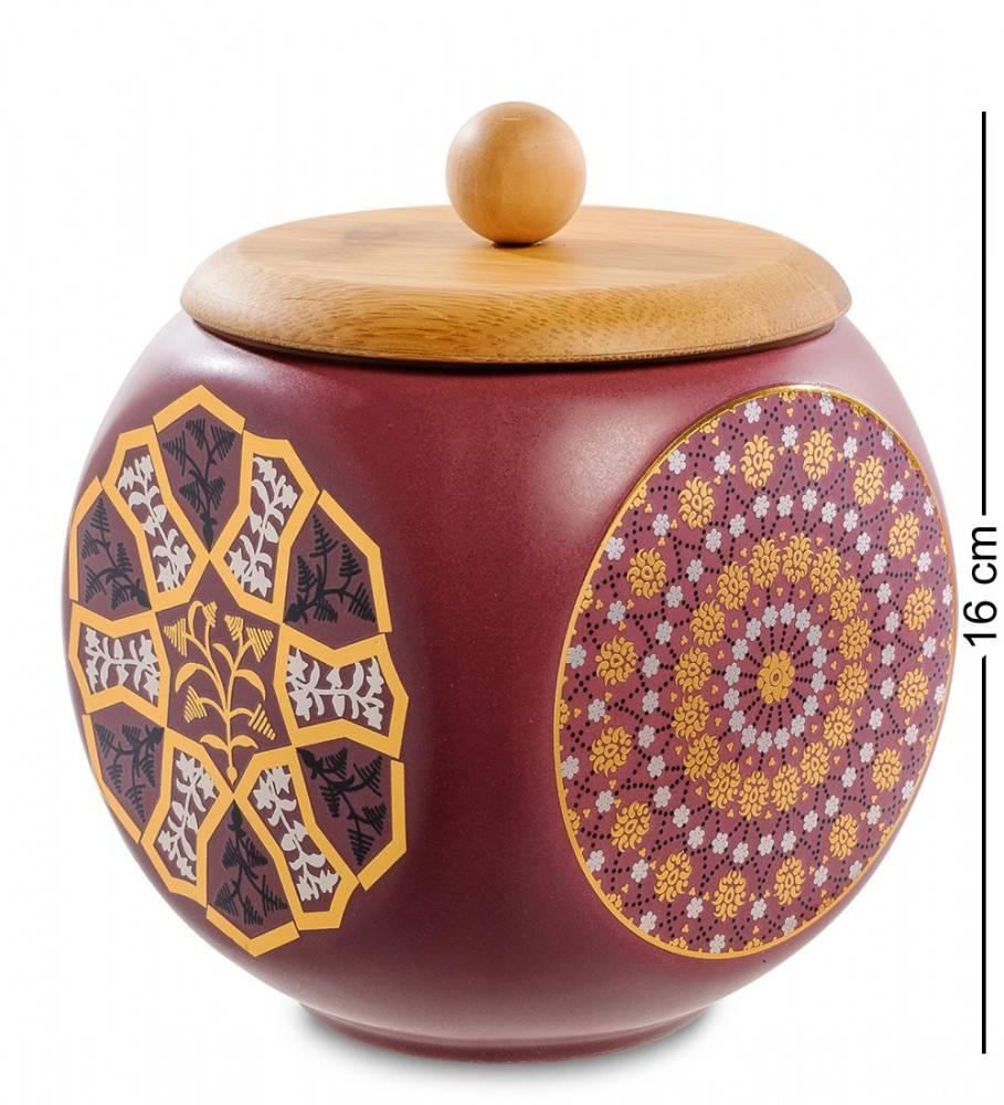Керамическая банка с крышкой из бамбука 16 см