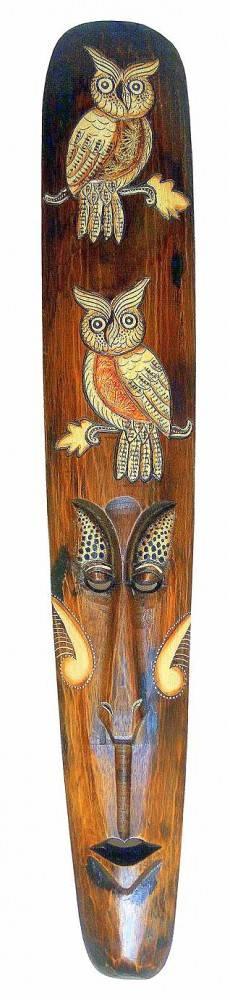 """Маска из дерева  """"Ломбок"""" Две совы 100см."""