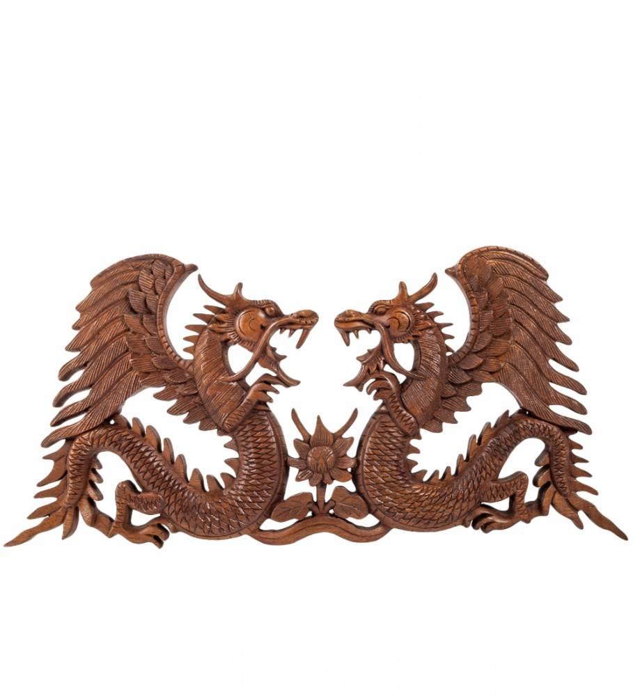 """Панно резное """"Два Дракона"""" 51 см"""