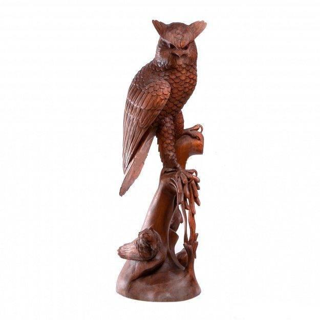 Фигура из дерева Сова с тремя птенцами 80 см