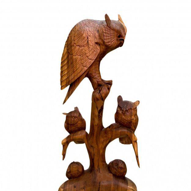 Композиция из дерева Сова с четырьмя птенцами на дереве 80 см