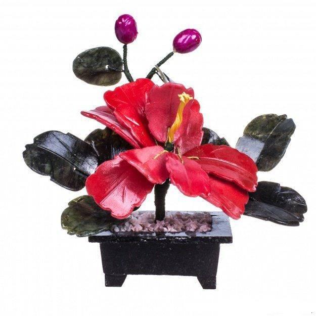 Цветок счастья Пион из камня 15 см.