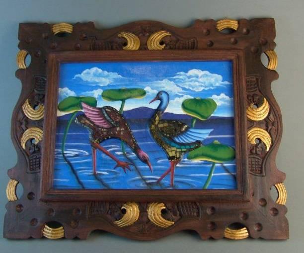 Картина в деревянной раме Птицы 48*58 см.