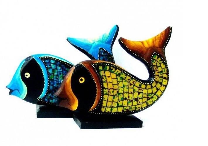 Фигурка Рыба l=30 см. (цвета в ассорт.) (дерево, стекло)