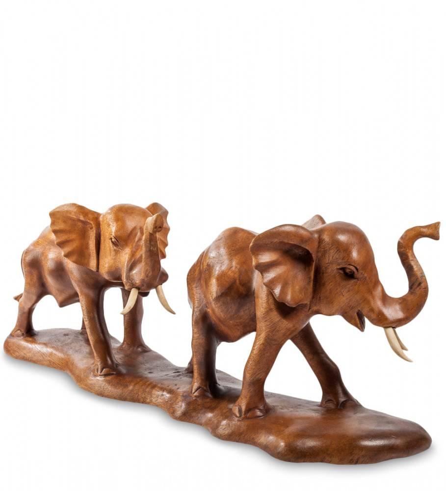 """Фигура резная из дерева """"Слоны"""" 50 см"""