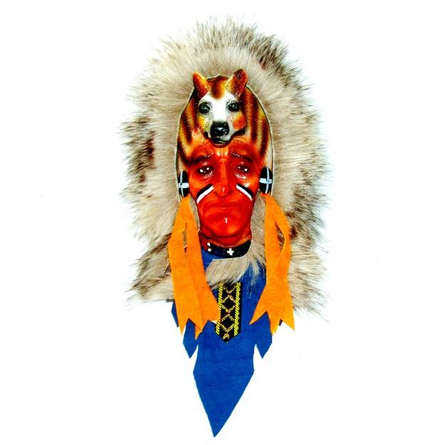 Маска Индейца с головой волка 25 см.