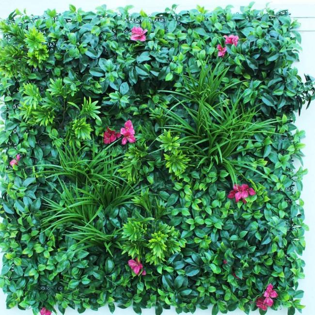 Искусственная трава с розовыми цветами 100х100 см