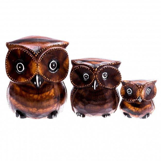 Фигурки из дерева три совы 8,10,15 см